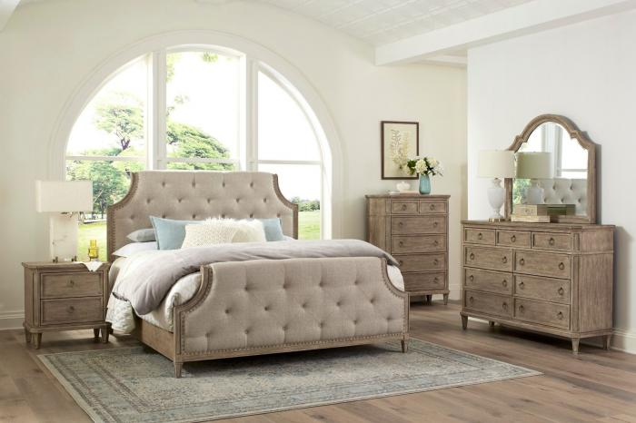 Tuscany King Upholstered Bed, Dresser, Mirror, Chest and Nightstand,Standard Furniture