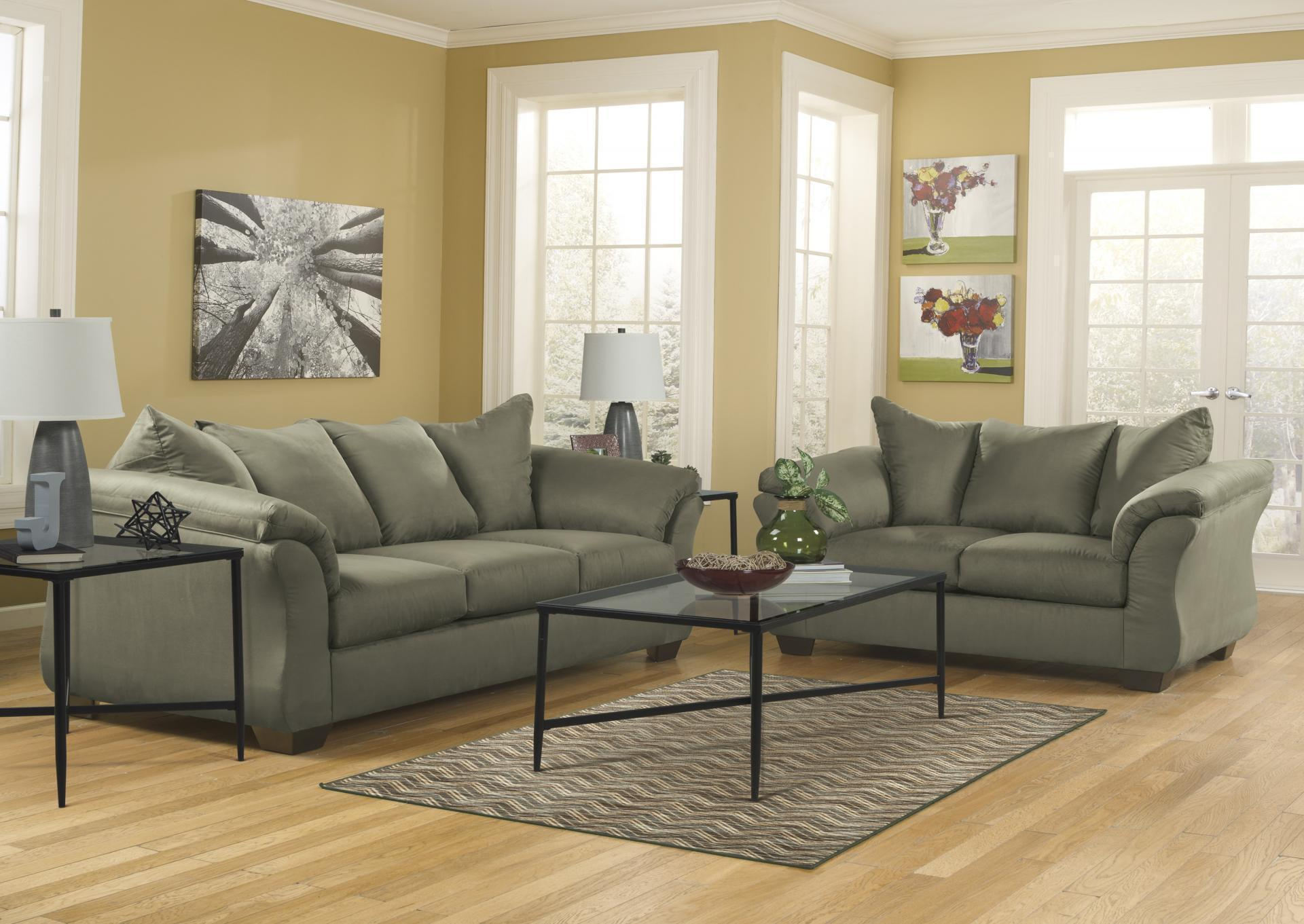Darcy Sage Sofa and Loveseat,Roses eCircular Special