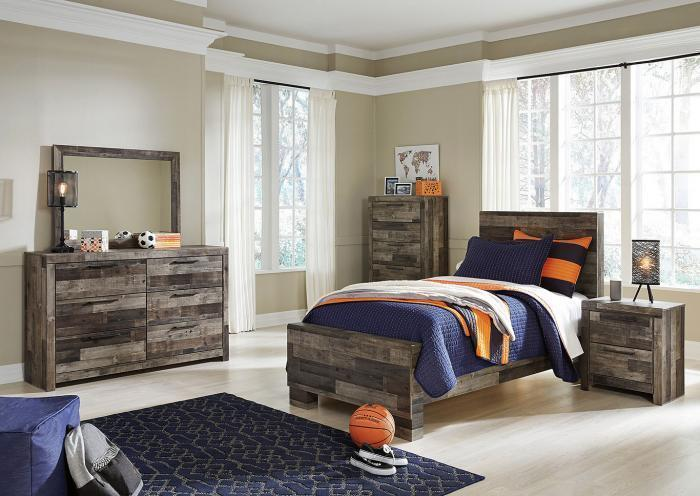 Derekson Gray Twin Bed w/Double Dresser, Mirror and Nightstand,In Store Products