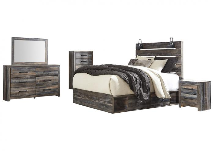 Drystan Dark-Tone King Storage Bed w/Dresser, Mirror and Nightstand,In Store Products