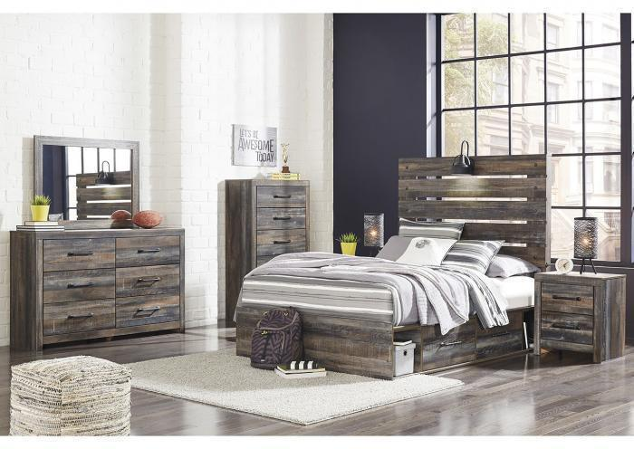 Drystan Dark-Tone Full Storage Bed w/Dresser, Mirror and Nightstand,In Store Products