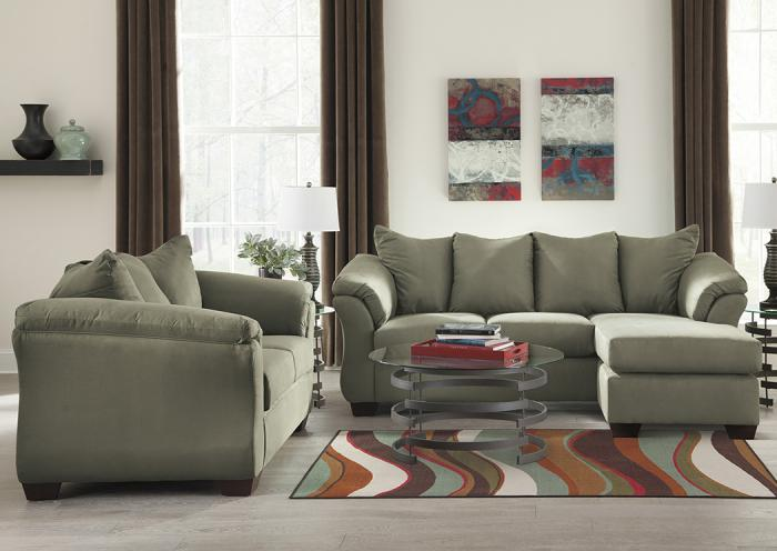 Darcy Sage Sofa Chaise & Loveseat,Roses eCircular Special