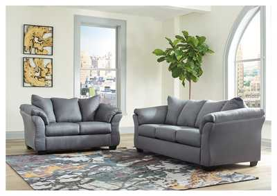 Darcy Steel Sofa and Loveseat