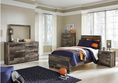 Derekson Gray Twin Bed w/Double Dresser, Mirror and Nightstand