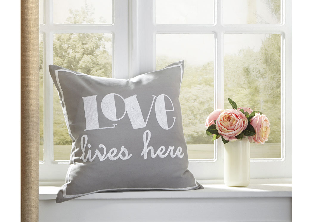 Love Gray Pillow (4/CS),In Store Product