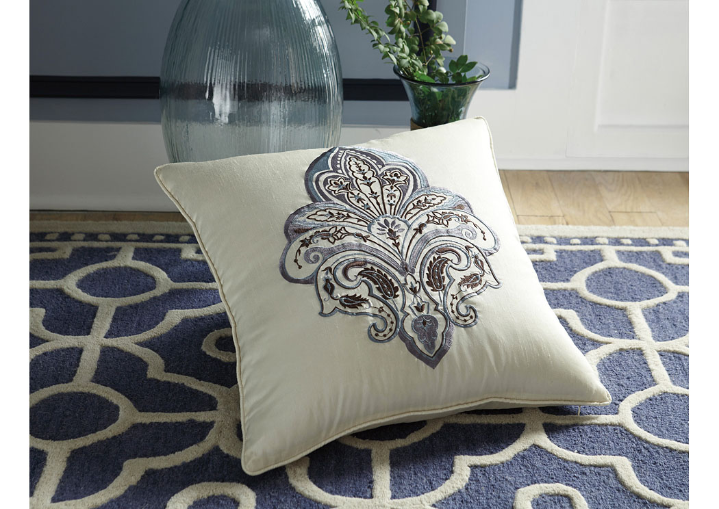 Mykel Cream/Blue Pillow (4/CS),In Store Product