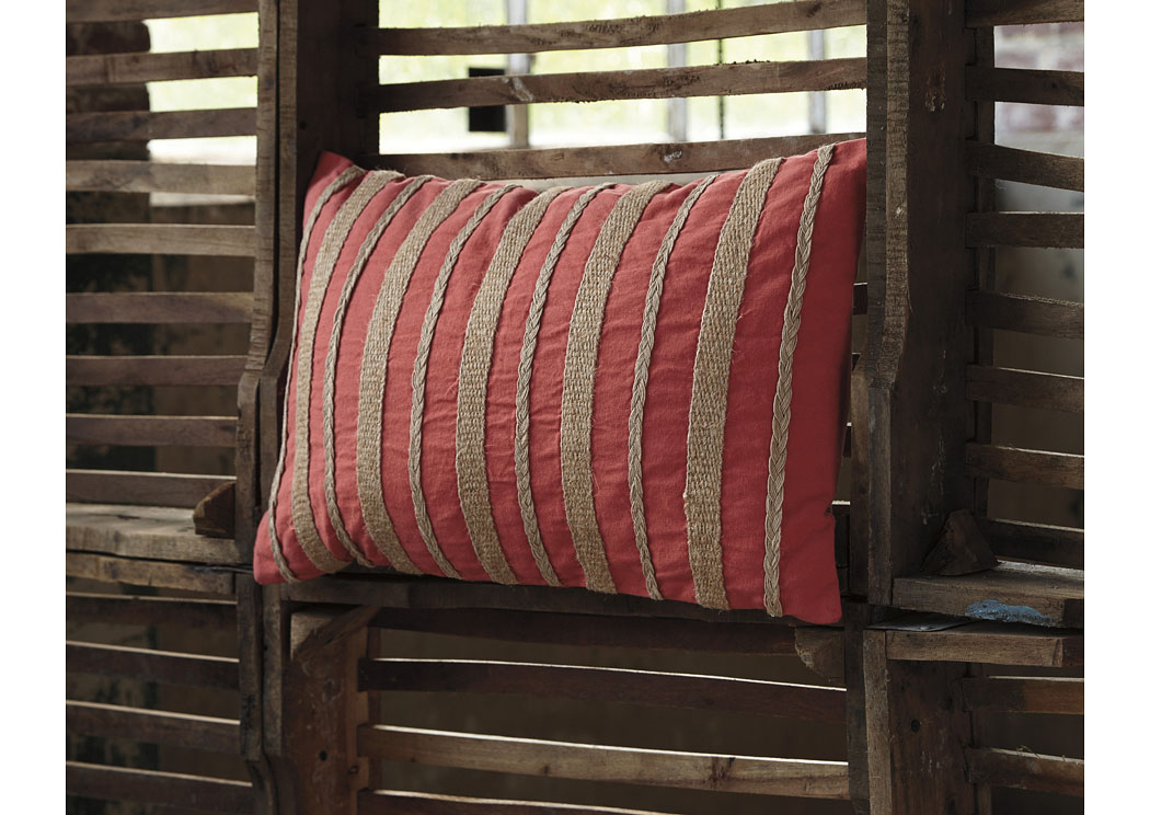 Zackery Coral Pillow (4/CS),In Store Product