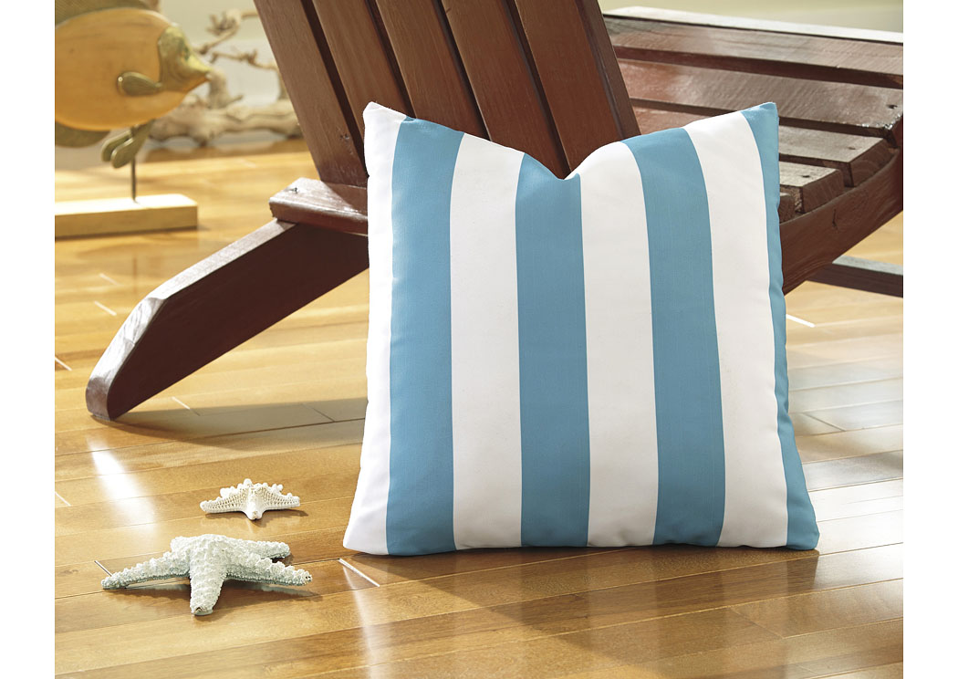 Hutto Aqua/White Pillow (4/CS),In Store Product