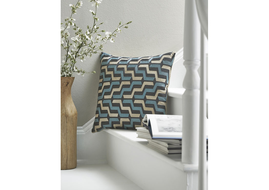 Babette Blue/Gray Pillow (4/CS),In Store Product