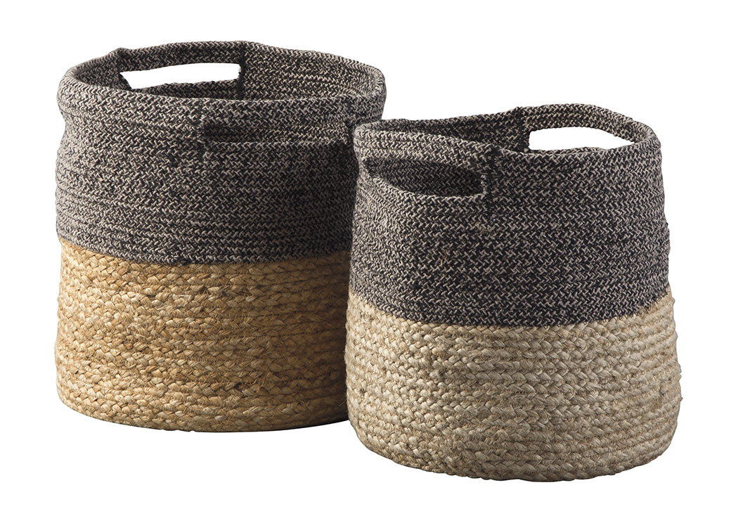Parrish Natural/Black Basket Set (Set of 2),In Store Product