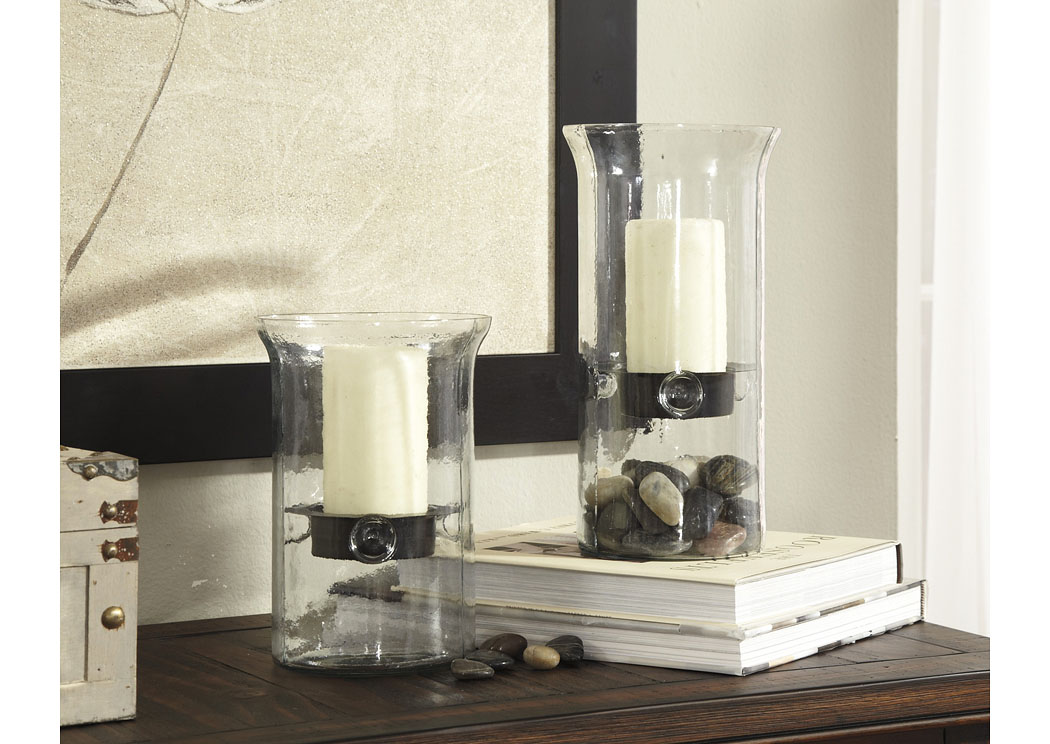 Kadeem Clear Candle Holder (Set of 2)(2/CS),In Store Product