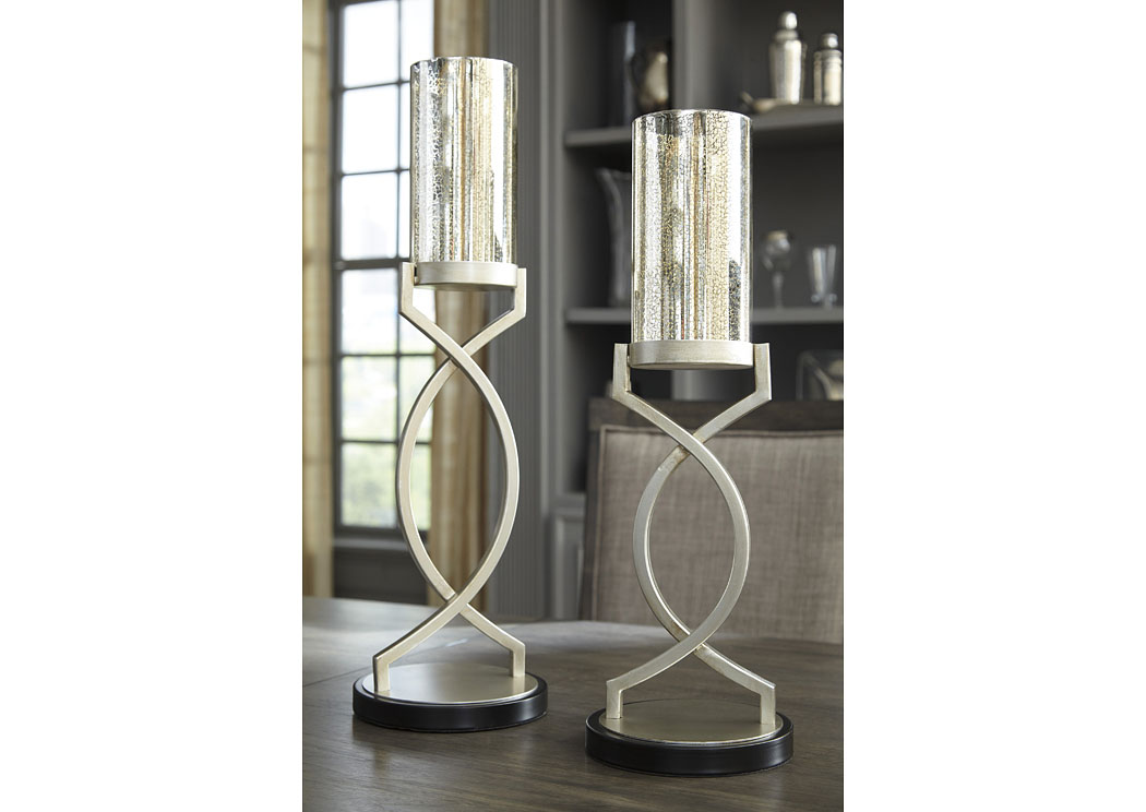 Odele Silver Finish Candle Holder (Set of 2)(2/CS),In Store Product