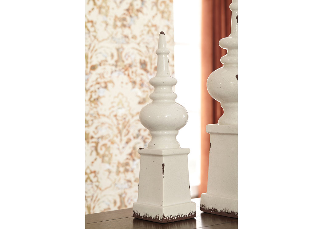 Diem Antique White Finial (2/CS),In Store Product