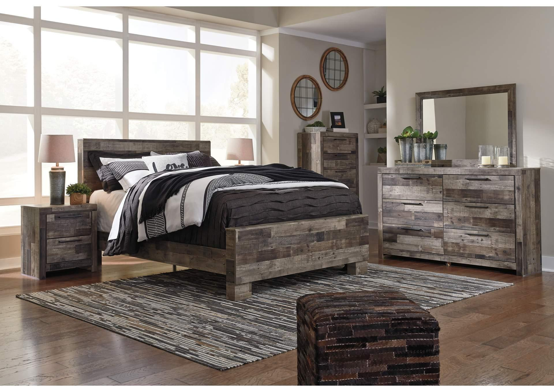 Derekson Gray Full Bed w/Double Dresser, Mirror and Nightstand,In Store Product