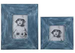 Baeddan Antique Blue Photo Frame (Set of 2) (2/CS)