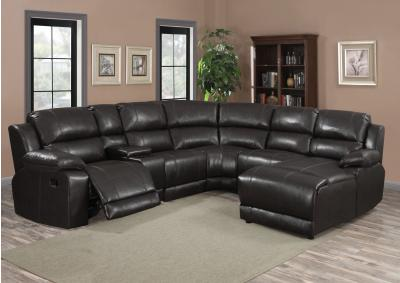 Image for 212 6pc Black Leather Sectional