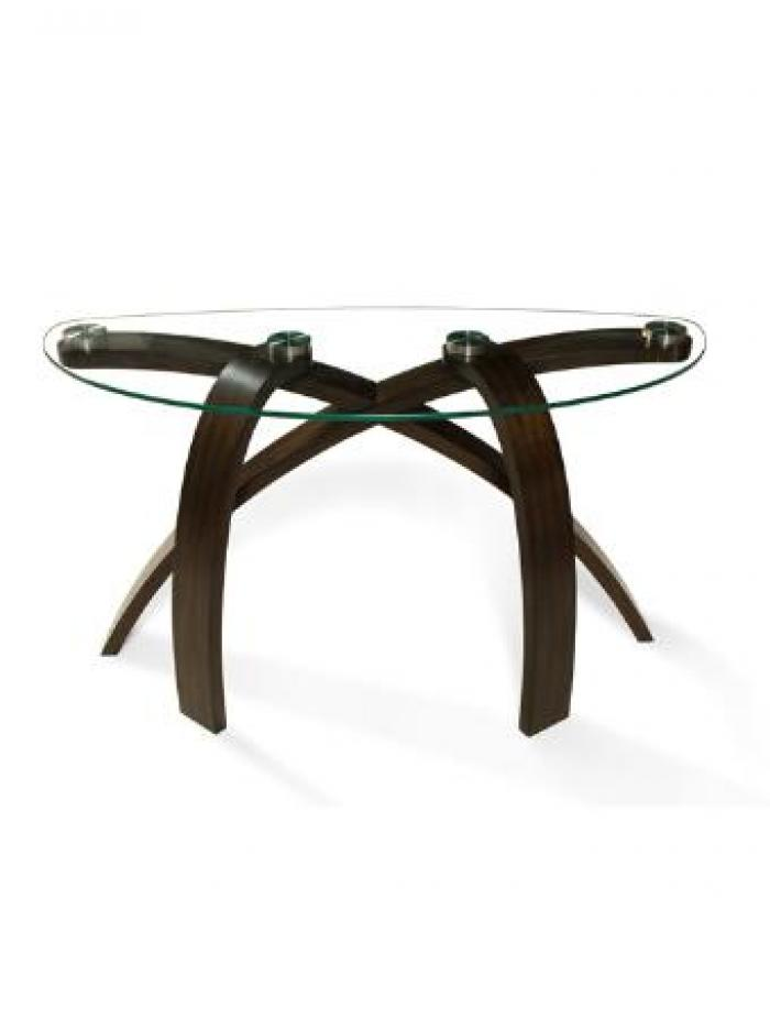 Tri bent Wood/Glass Half Moon Shape Sofa Table,Brandywine Showcase