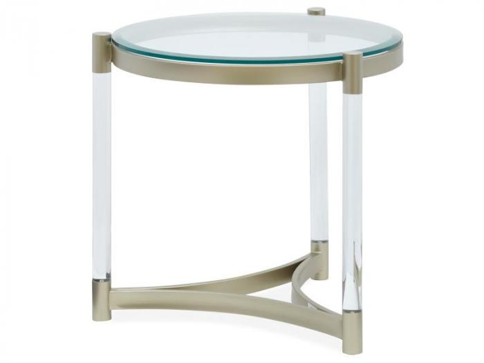 Silas Platinum Acrylic and Glass End Table,Brandywine Showcase