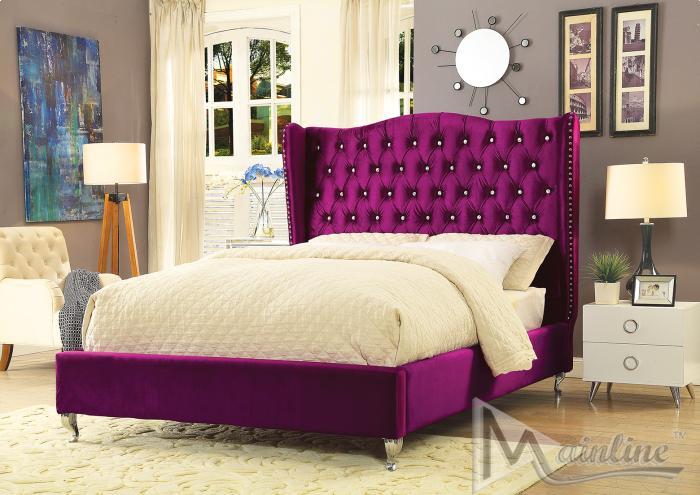 Violetta Purple Velvet True Queen Platform Bed Violetta Purple Velvet True Queen Platform Bed Sale 499 00 Dimension Available In Full Queen King