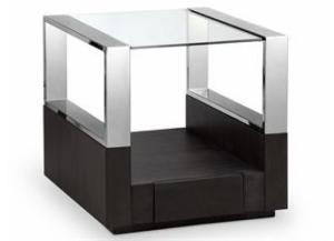 Image for Revere Graphite End Table Chrome/Glass