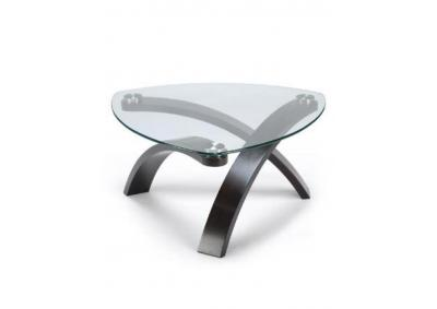 Image for Tribent Wood/Glass Pie Shape Cocktail Table