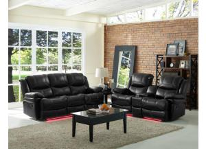 Image for Reclining Sofa Power Flynn Black W/ Multi Color Lights and Manual Love With console/USB/Reading lights