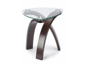 Image for Tri bent Wood/Glass Pie Shape End Table