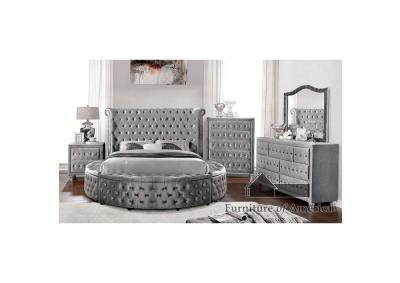 Image for Queen Bed Button Tufted Round Gray