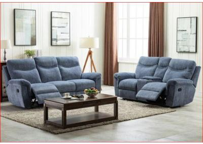 Image for Sheffield Blue Reclining Sofa and Love
