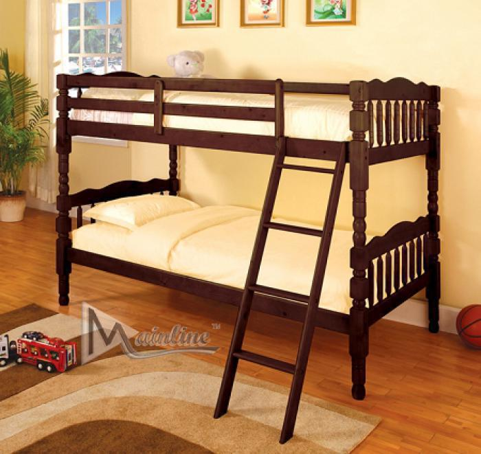 4520 Espresso Wood Bunk Bed with 2 Mattresses,Mainline