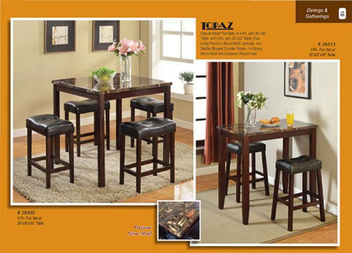 26400 Topaz 5pc Counter Height Dining Set,Mainline