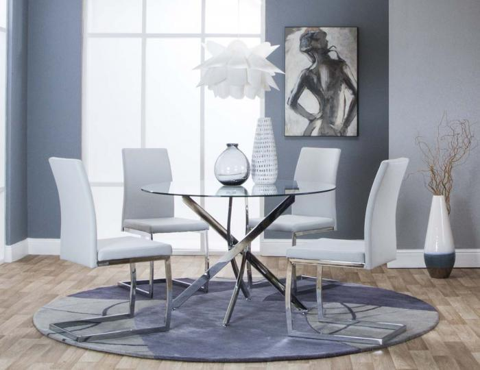 G5051-545 Bravo 5pc Dining Set with Light Gray Chairs,Cramco Dining