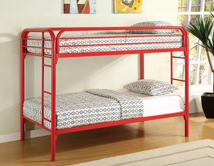 4005 Twin/Twin Bunk Bed -Frame Only - Red,Mainline