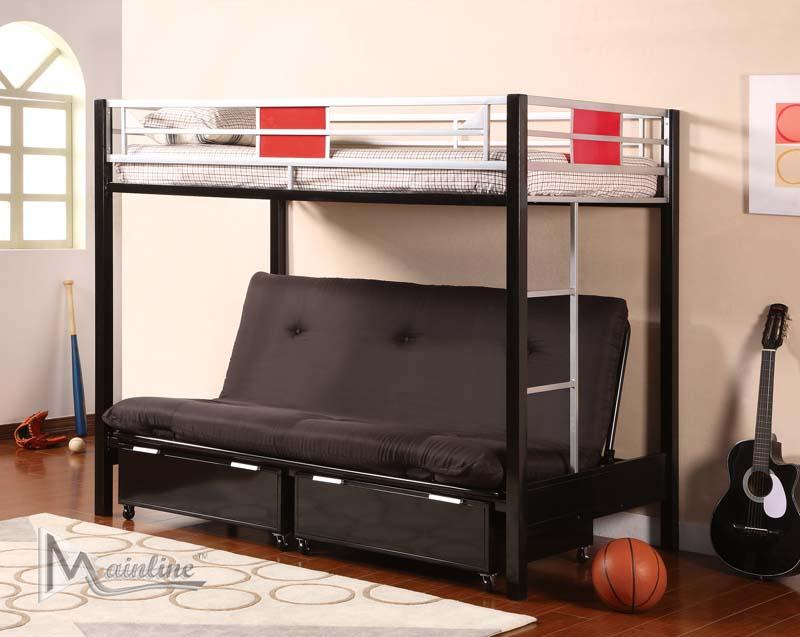 98635, Twin/Full Futon Bunk Bed With Mattresses,Mainline