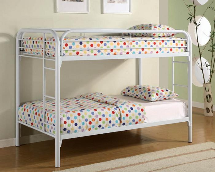 4005 Twin/Twin Bunk Bed - Frame Only - White,Mainline