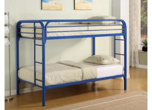 4005 Twin/Twin Bunk Bed with 2 Mattresses - Blue