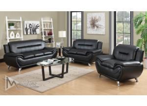Image for 71350-1 Napoli Black Faux Leather Sofa and Loveseat