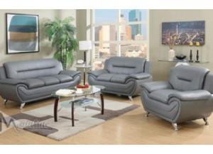 Image for 71357-8 Napoli Gray Faux Leather Sofa and Loveseat