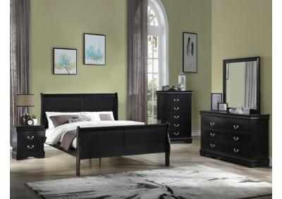 B3950 Queen Black Sleigh Bed, Dresser, Mirror, Chest, Night Stand