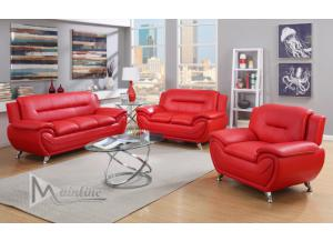 Image for 71354-5 Napoli Red Faux Leather Sofa and Loveseat