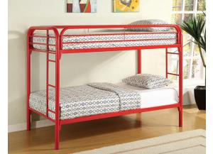 4005 Twin/Twin Bunk Bed -Frame Only - Red