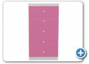 B885 Pink/White 5 Drawer Wood Chest