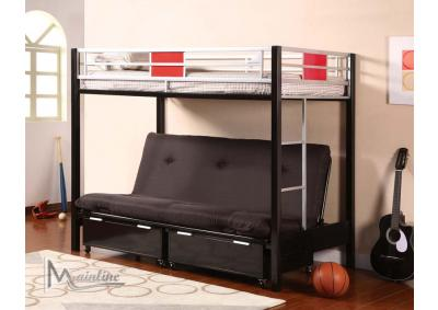 98635, Twin/Full Futon Bunk Bed With Mattresses
