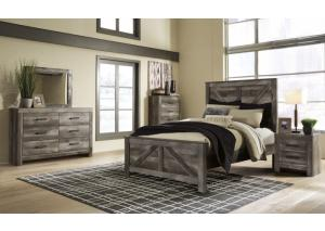 Wynnlow Gray Queen Crossbuck Panel Bed w/Dressser and Mirror
