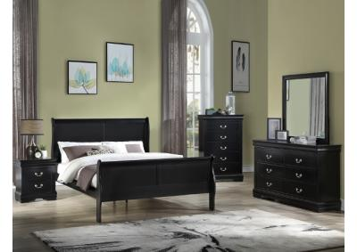 B3950 Black Queen Sleigh Bed, Dresser, Mirror