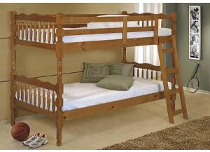 4520 Pine Wood Bunk Bed with 2 Mattresses