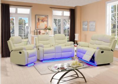 Image for White Reclining Sofa and Loveseat W/LED