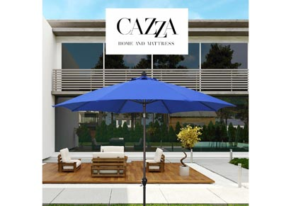 Image for CAZZA 9' Bronze Aluminum Patio Umbrella with Fiberglass Ribs Crank Lift 3-Ways Tilt in Pacific Blue Polyester