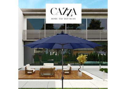 Image for CAZZA 9' Bronze Aluminum Patio Umbrella with Fiberglass Ribs Crank Lift 3-Ways Tilt in Navy Polyester
