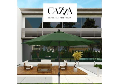 Image for CAZZA 9' Bronze Aluminum Patio Umbrella with Fiberglass Ribs Crank Lift 3-Ways Tilt in Hunter Green Polyester